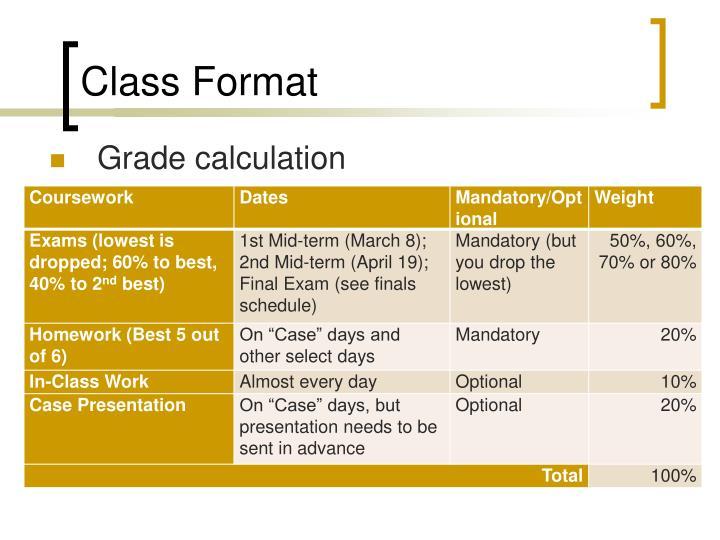 Class Format