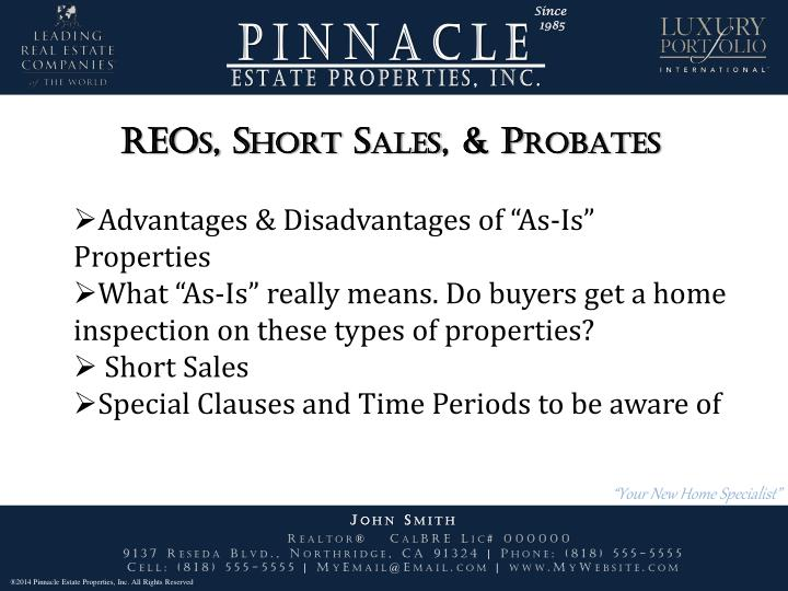 REOs, Short Sales, & Probates