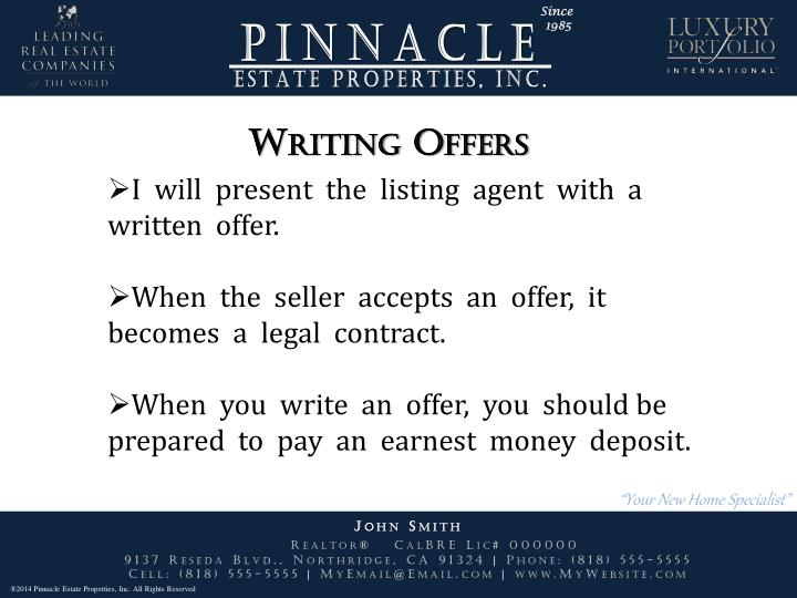 Writing Offers