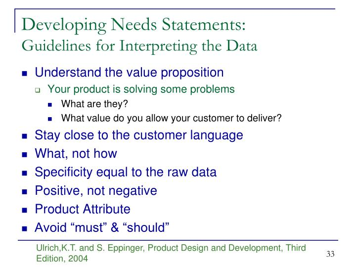Developing Needs Statements: