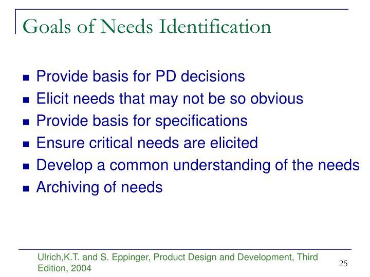 Goals of Needs Identification