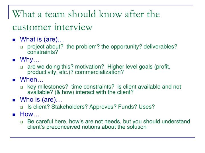 What a team should know after the customer interview