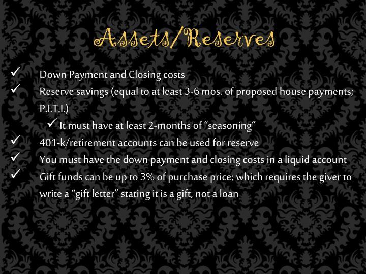 Assets/Reserves
