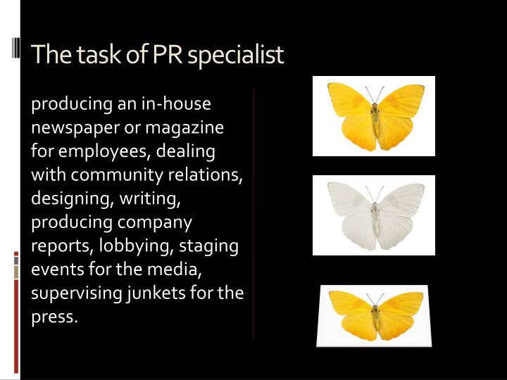 The task of PR specialist