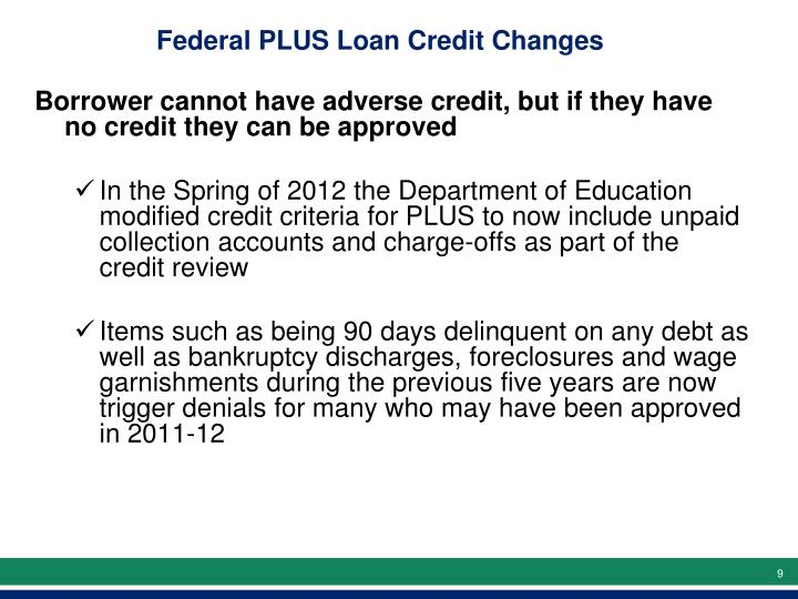 Federal PLUS Loan Credit Changes