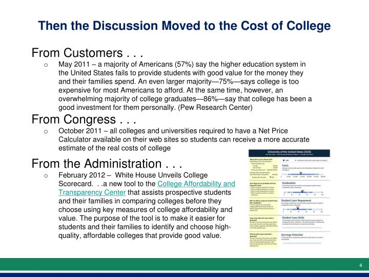 Then the Discussion Moved to the Cost of College
