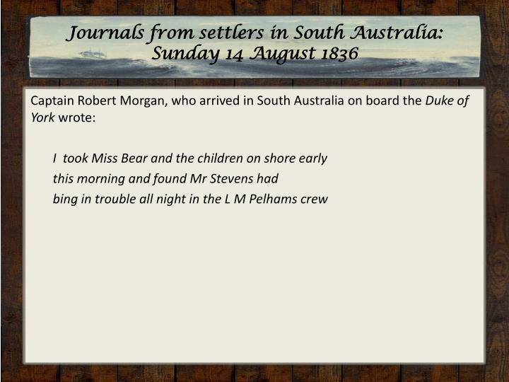 Journals from settlers in South Australia: