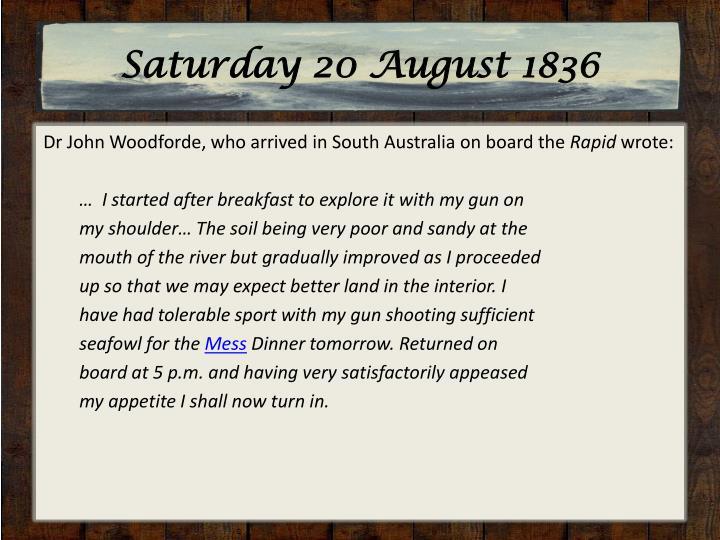 Saturday 20 August 1836