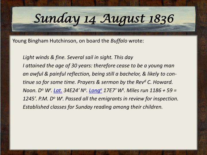 Sunday 14 August 1836