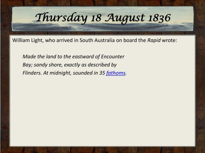 Thursday 18 August 1836