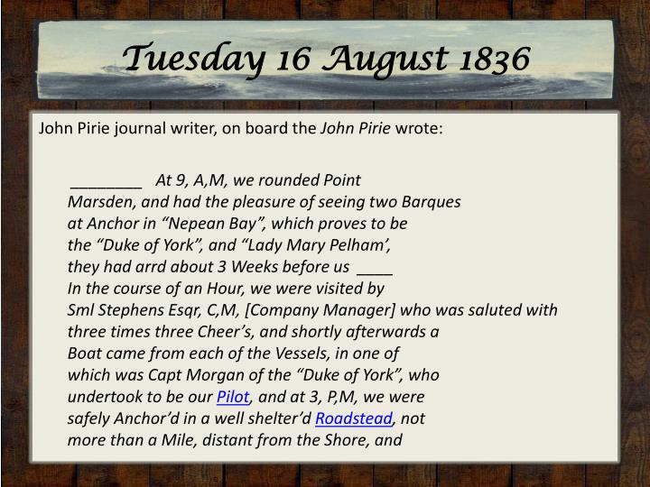 Tuesday 16 August 1836