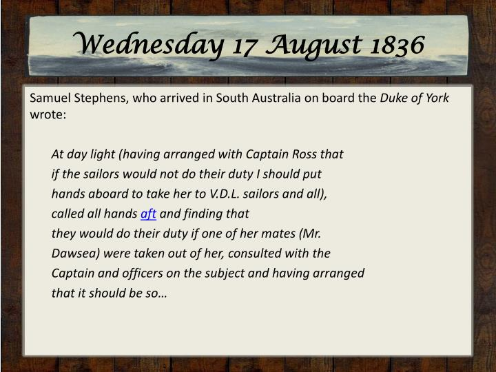 Wednesday 17 August 1836