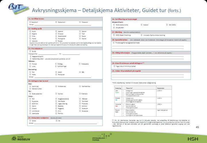 Avkrysningsskjema – Detaljskjema Aktiviteter, Guidet tur