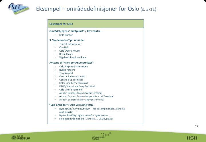 Eksempel – områdedefinisjoner for Oslo