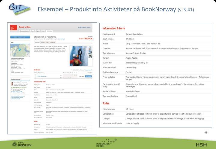 Eksempel – Produktinfo Aktiviteter på BookNorway