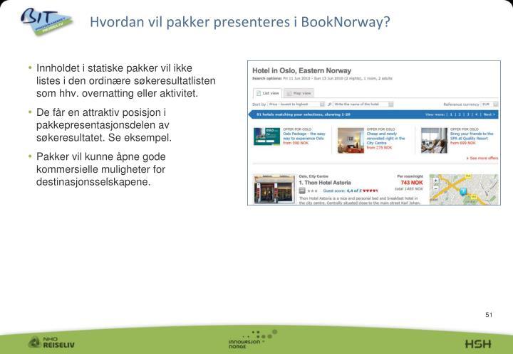 Hvordan vil pakker presenteres i BookNorway?