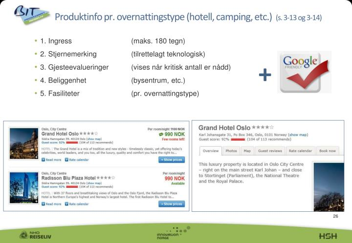 Produktinfo pr. overnattingstype (hotell, camping, etc.)