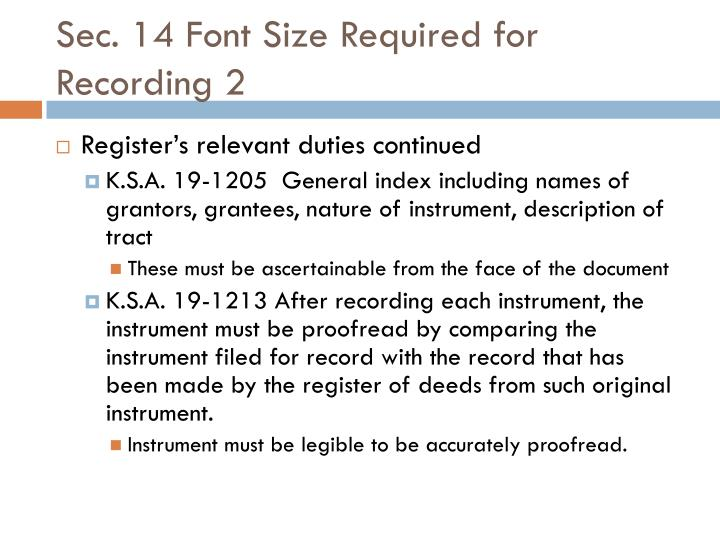 Sec. 14 Font Size Required for Recording 2