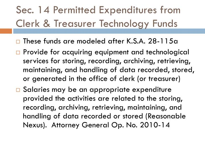 Sec. 14 Permitted Expenditures from Clerk & Treasurer Technology Funds