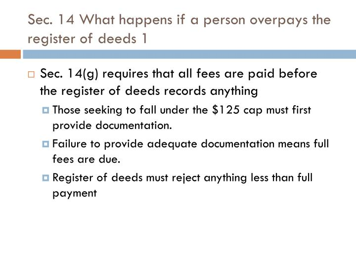 Sec. 14 What happens if a person overpays the register of deeds 1