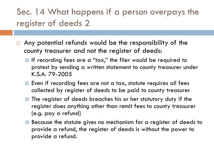 Sec. 14 What happens if a person overpays the register of deeds 2