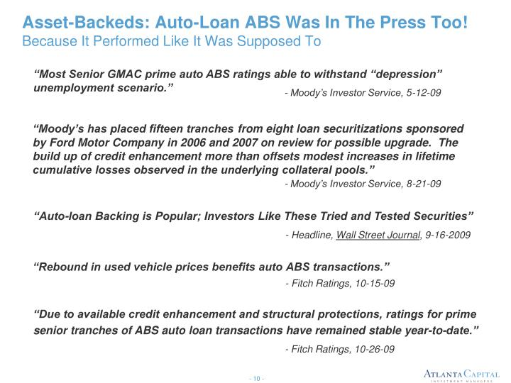 Asset-Backeds: Auto-Loan ABS Was In The Press Too!