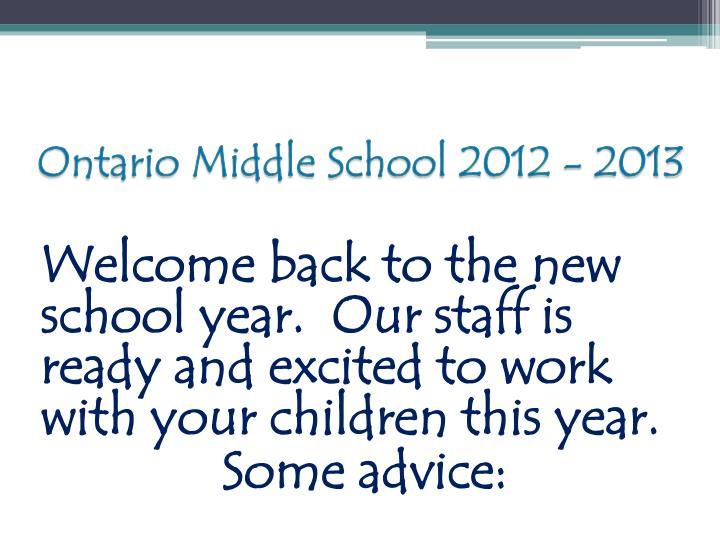 Ontario middle school 2012 20131