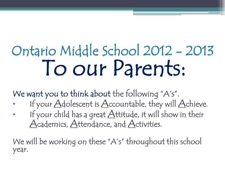 Ontario middle school 2012 20132