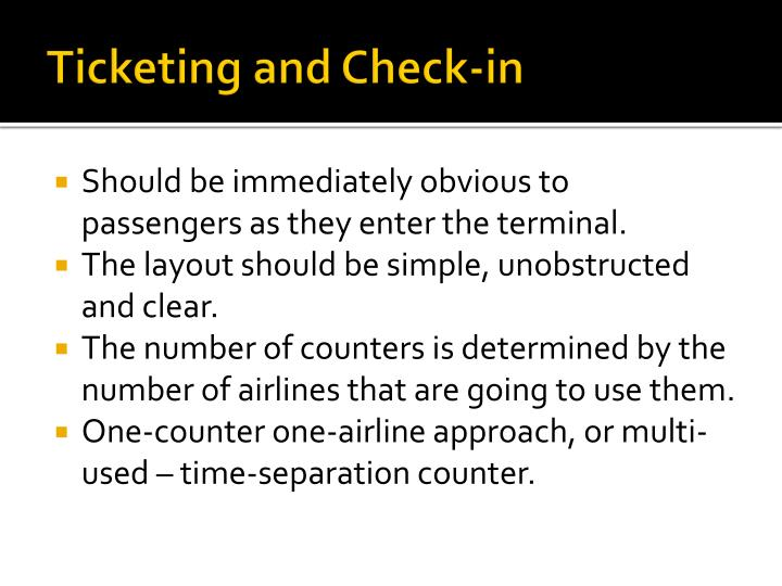 Ticketing and Check-in