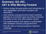 summary ga jsc sat wgs moving forward