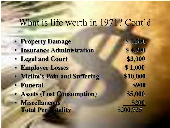 What is life worth in 1971? Cont'd
