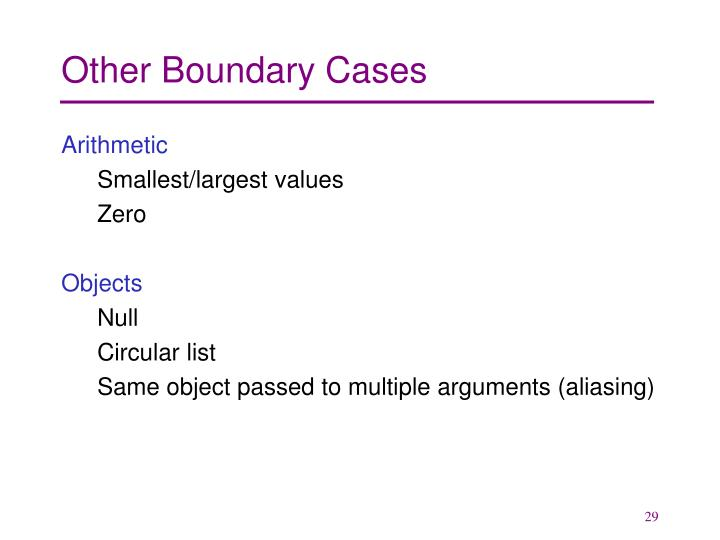 Other Boundary Cases