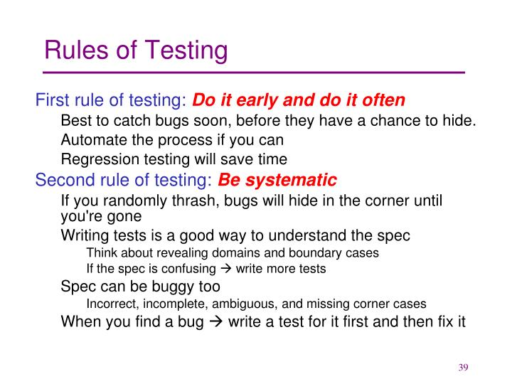 Rules of Testing