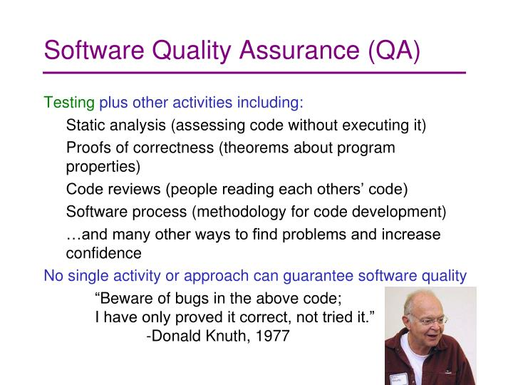Software Quality Assurance (QA)