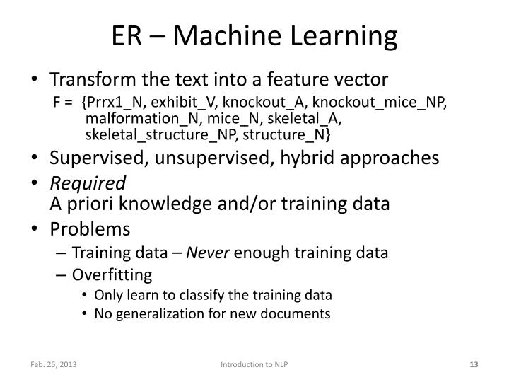 ER – Machine Learning