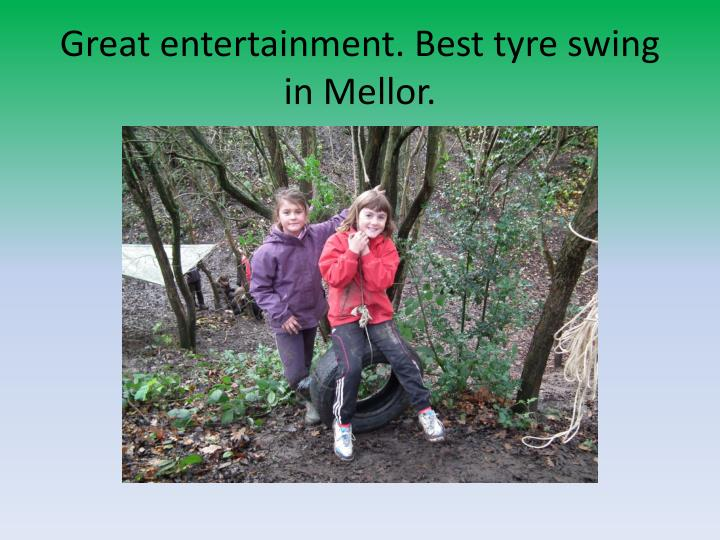 Great entertainment. Best tyre swing in Mellor.