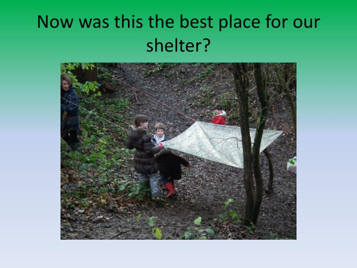 Now was this the best place for our shelter?
