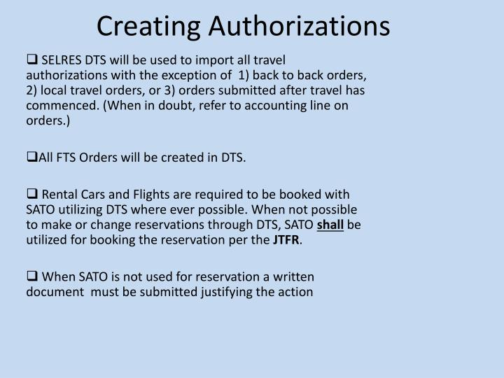 Creating Authorizations