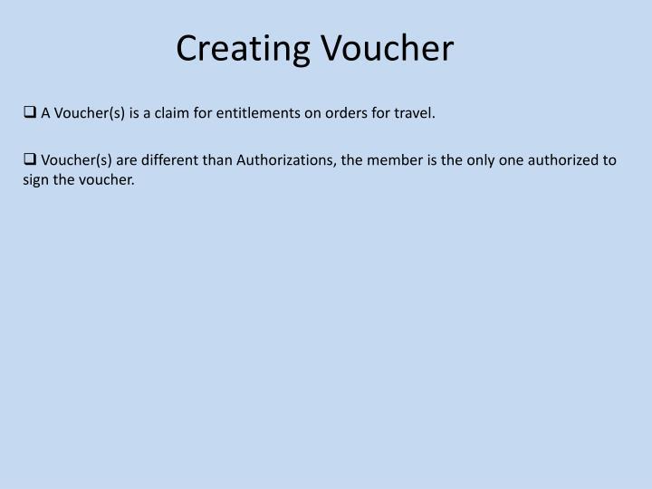 Creating Voucher