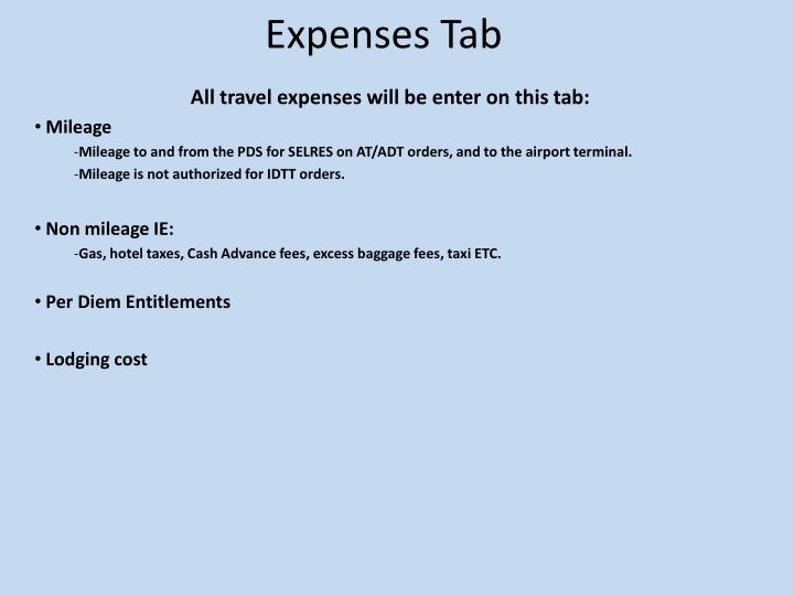 Expenses Tab