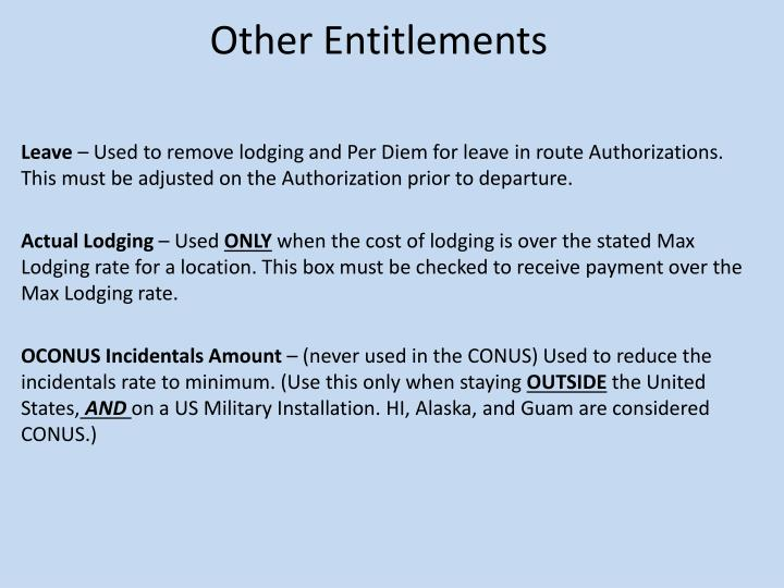 Other Entitlements