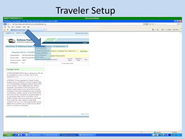 Traveler Setup