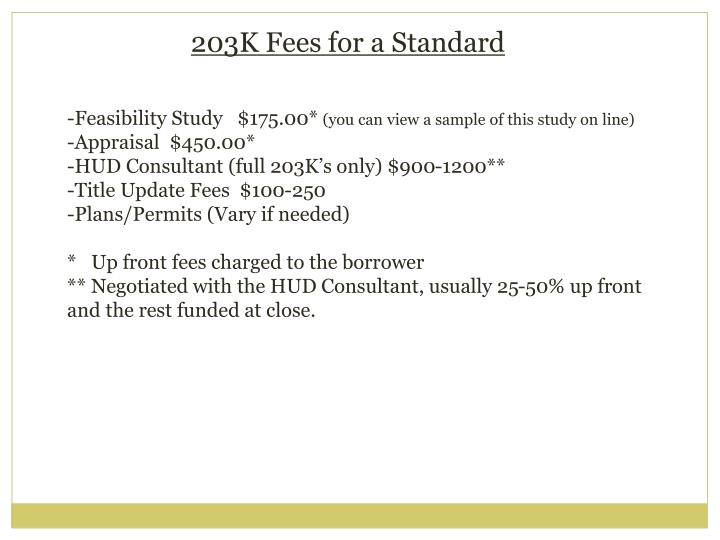 203K Fees for a Standard