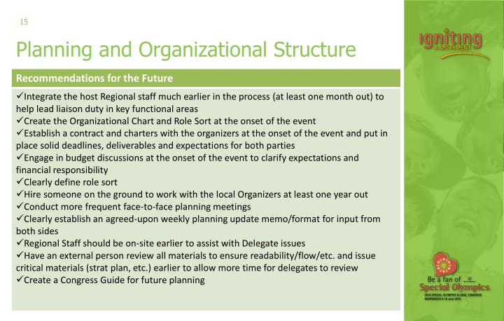 Planning and Organizational Structure