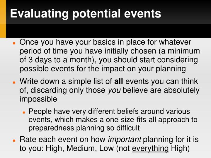 Evaluating potential events