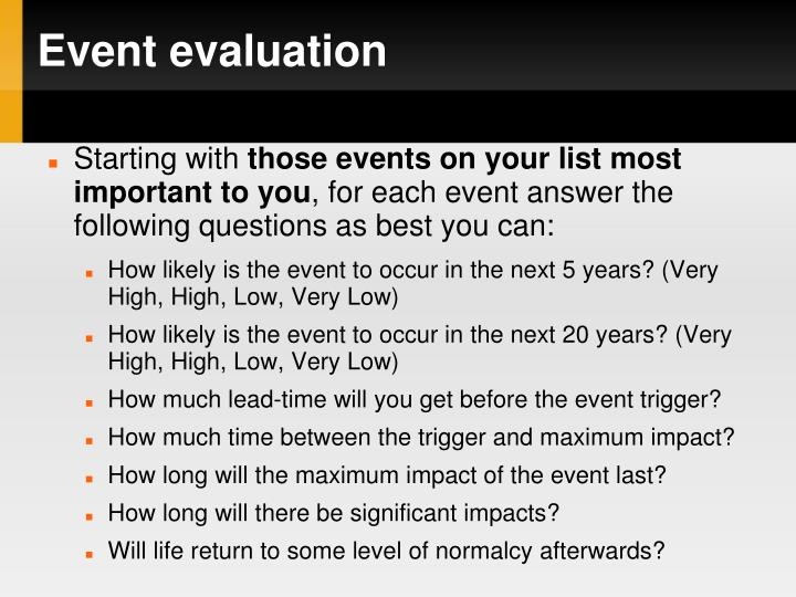 Event evaluation