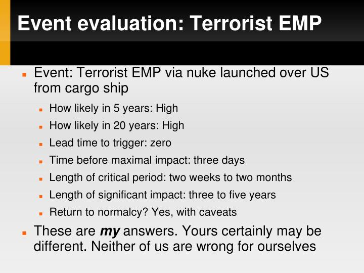 Event evaluation: Terrorist EMP