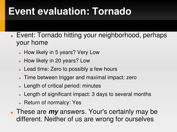 Event evaluation: Tornado