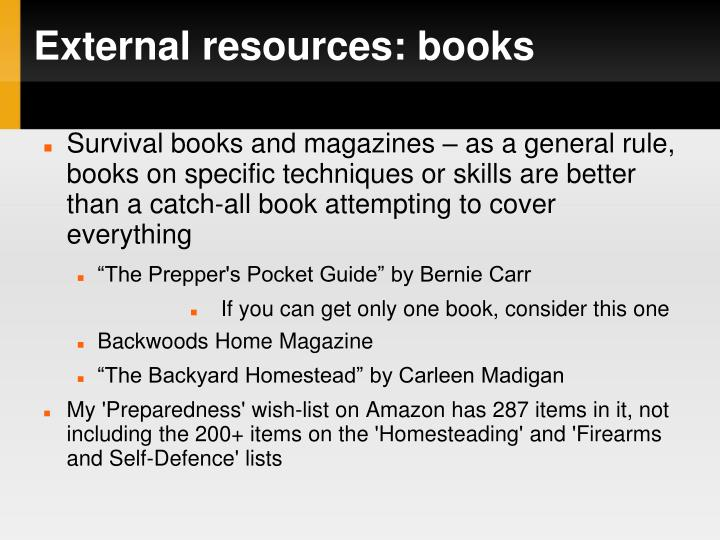 External resources: books