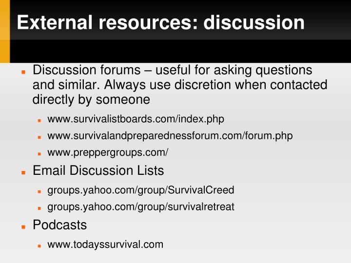 External resources: discussion